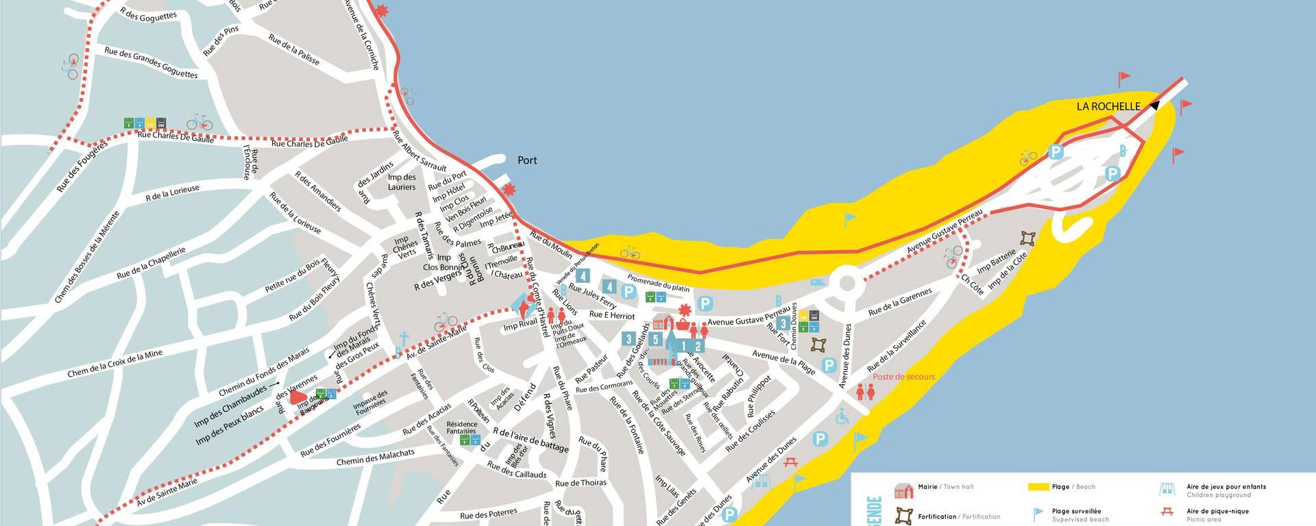 Plan Ile de Ré, village de Rivedoux-Plage