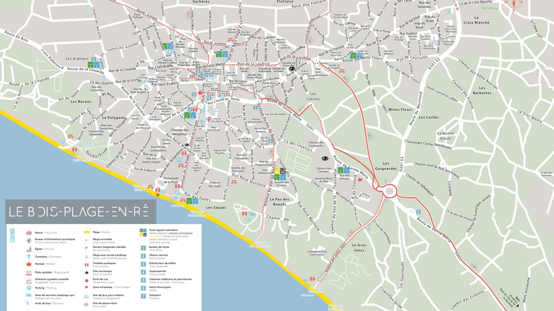 Plan île de Ré, village Le-Bois-Plage-en-Ré